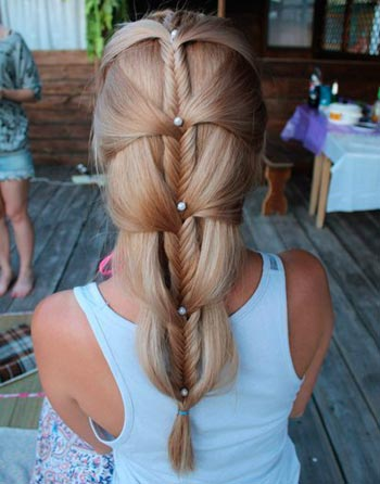 плетение волос в колосок