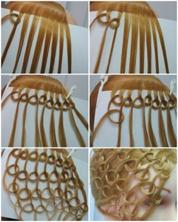 прическа с узелками