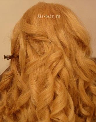 укладка волос локонами в пучок