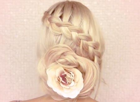 прическа - косичка с цветком