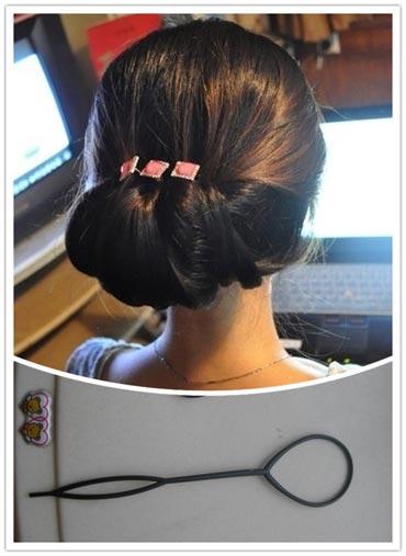 прическа с петлей для волос